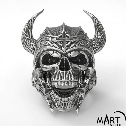 Biker Skull Men's Ring Helmet Skull Ring