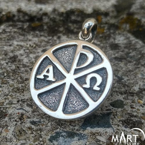 Chi-Rho Alpha and Omega Pendant, Christian Knights Templar Pendant - Silver and Gold