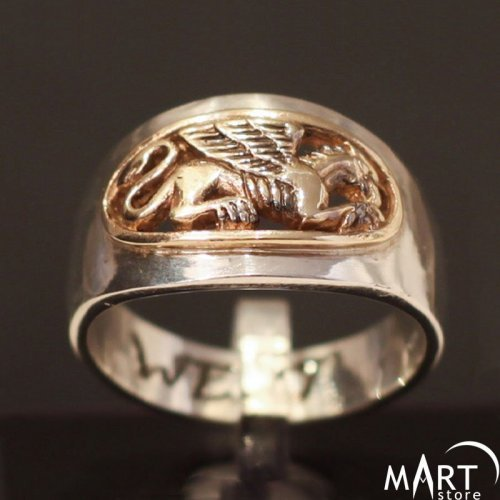 Griffin ring - a symbol of Eternal life, antique - Silver and Gold