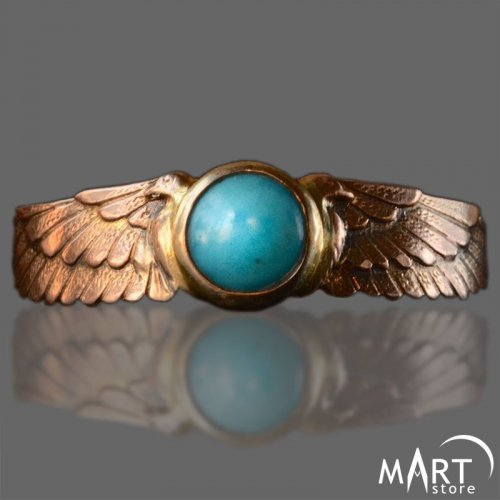 Egyptian Band Ring - The Winged Sun Disc - Silver and Gold
