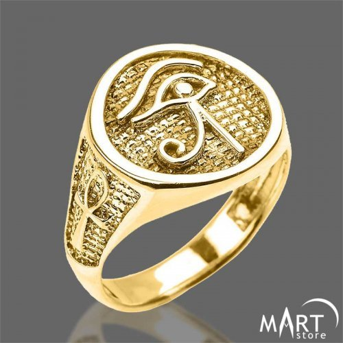 Egyptian Ring - Eye of Horus and Ankh Cross, Oval - Silver and Gold