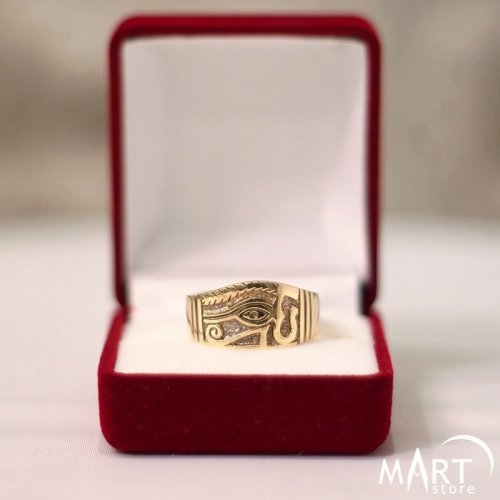 Egyptian ring - Eye of Horus, Eye of Ra, antique - Silver and Gold