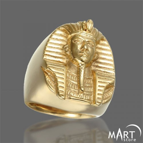 Pharaoh Ring - Ancient Egyptian Pharaoh Ring - Silver and Gold