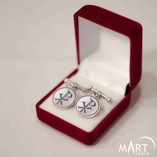 Custom Christian Cufflinks - Chi-Rho Religious Cufflinks - Silver and Gold