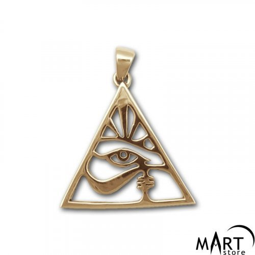 Egyptian Pendant - Eye of Ra and Pyramid, Egyptian Amulet - Silver and Gold