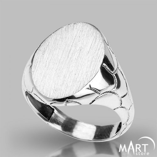 Custom Initial Signet Ring - Monogram ring Oval Reptile - Silver and Gold