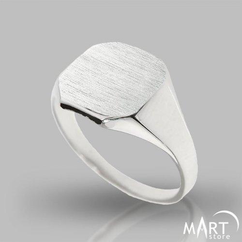 Custom Initial Signet Ring - Monogram ring Square v.2, Silver/Gold