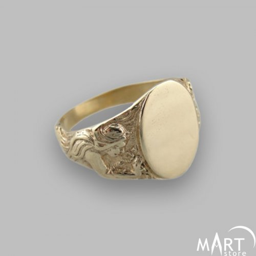Custom Monogram Ring - Initial Letter Ring Vintage, Oval - Silver and Gold