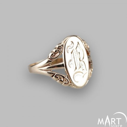 Monogram Ring, Personalized - Initial Name Ring Oval - Silver and Gold