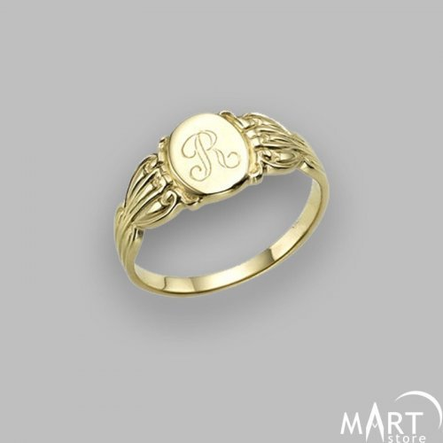 Personalized Monogram Ring - Mothers Engravable Ring, Vintage - Silver and Gold