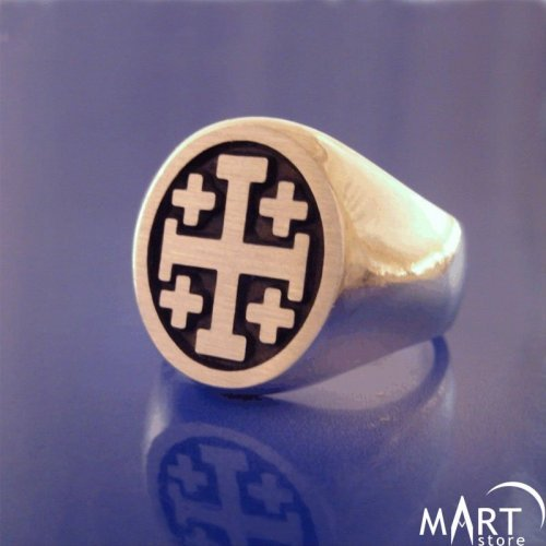 Jerusalem Cross Ring - Freemason Knights Templar Crusader Ring - Silver and Gold