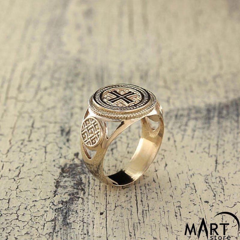 Crusader Knights Templar ring - Maltese Cross ring - Silver and Gold ...