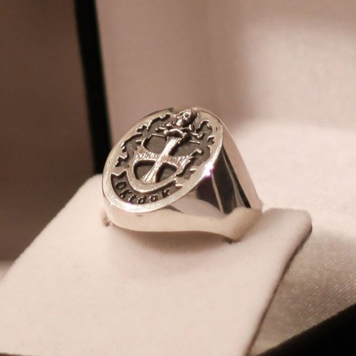 Custom Freemason Knight Templar Signet ring, Crusader shield - Silver and Gold