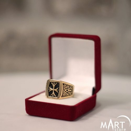 Freemason Knights Templar Ring - Templar Cross Olive Branch - Silver and Gold