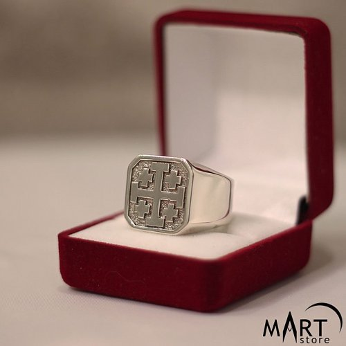 Knight Holy Sepulchre of Jerusalem Ring Jerusalem Cross Ring