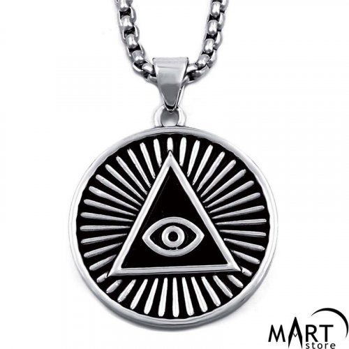 Illuminati Pyramid Pendant - All-Seeing Eye Pendant - Silver and Gold