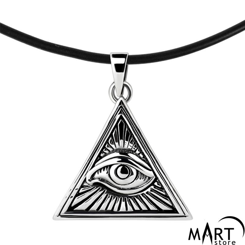 ea2e618e53870 Illuminati Pyramid Pendant - Eye of Providence Pendant - Silver and Gold