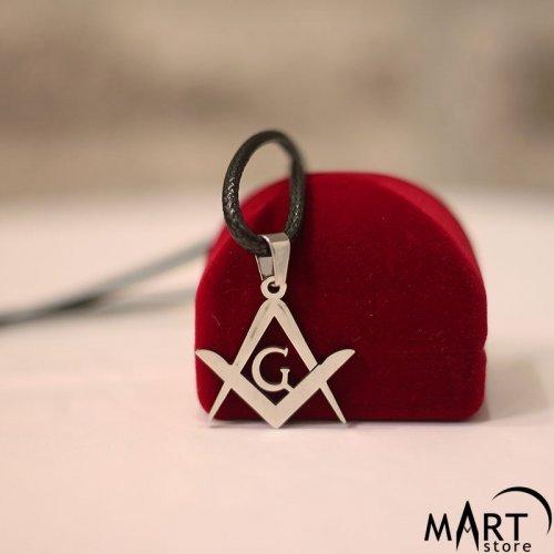 Masonic Pendant Necklace - Square and Compass Mini - Silver and Gold