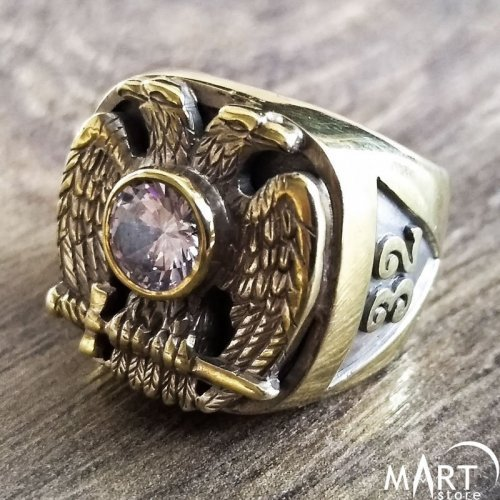 Masonic Diamond Ring - Scottish Rite Masonic ring 32nd degree - Silver and Gold