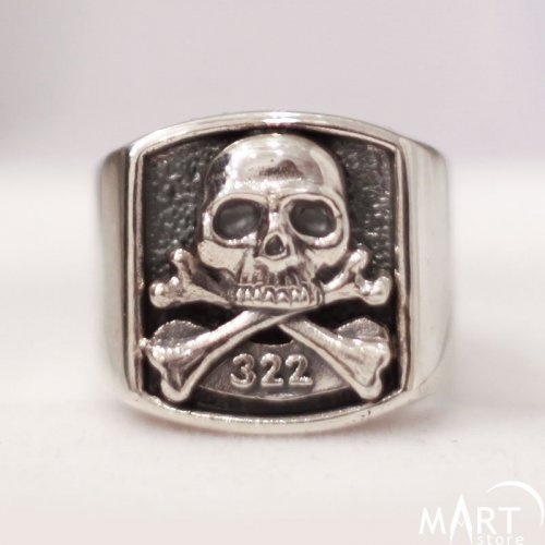 Skull and Bones Ring - 322 Skull and Bones Yale Ring - Silver and Gold