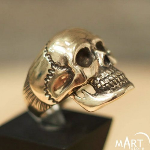 Masonic Skull ring - Huge biker skull ring - Silver and Gold