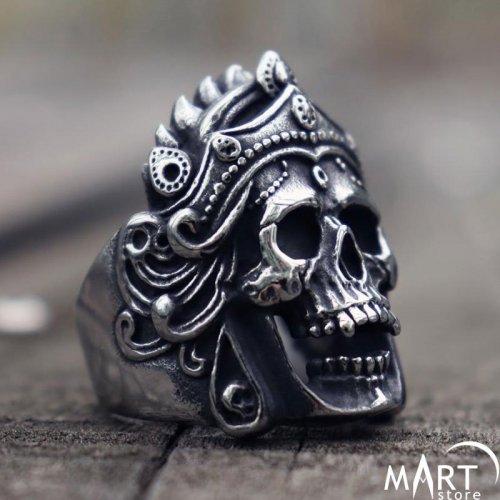 Biker Ring for Men Vintage Men's Biker Skull Ring