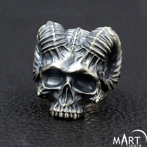 Biker Ring Gothic Satanic Demon Skull Ring