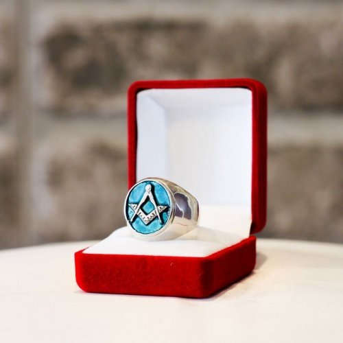 Blue-green Masonic ring - Blue Lodge of Freemasonry - Silver and Gold