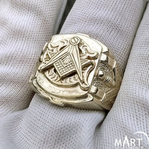 Blue Lodge Masonic Ring - 3rd degree Square and Compass ring - Silver and Gold