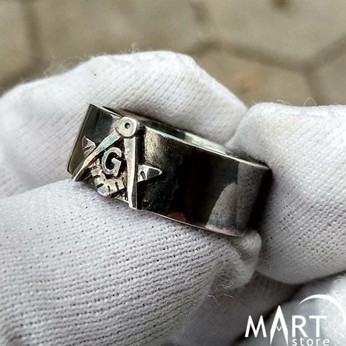 Blue Lodge Masonic Ring - Freemason Band Ring 3rd degree - Silver and Gold
