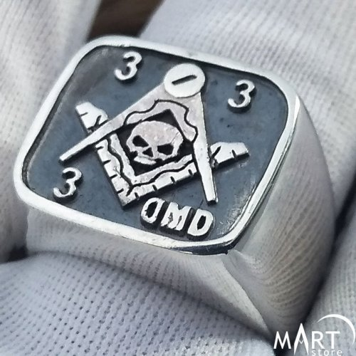 Custom Masonic Lodge ring - Memento Mori Skull - Silver and Gold