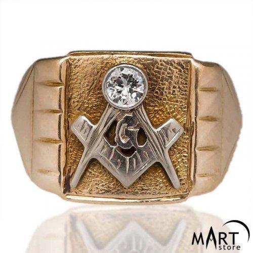 Custom Masonic ring - Blue Lodge Masonic Ring Gemstone Vintage - Silver and Gold