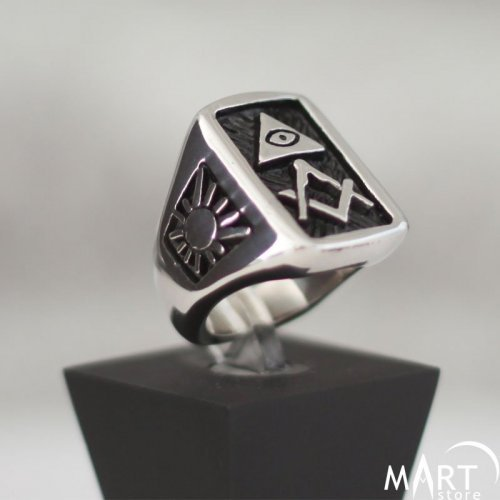 Custom Masonic Ring - Fully Customizable Masonic Ring Square Shape