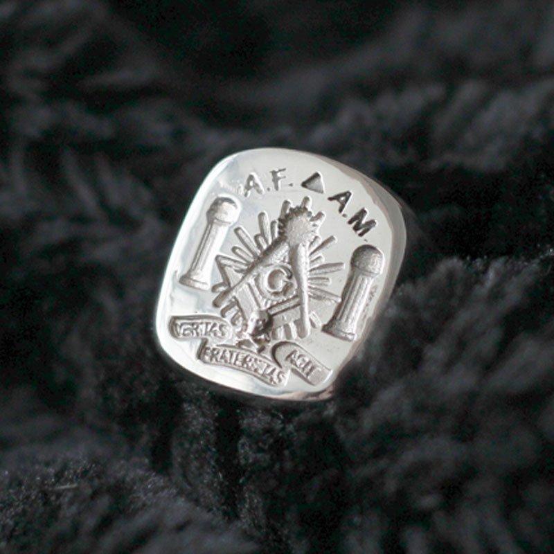 1f598860469f1 Custom Freemason Signet ring - Masonic pillars Boaz & Jachin - Silver and  Gold