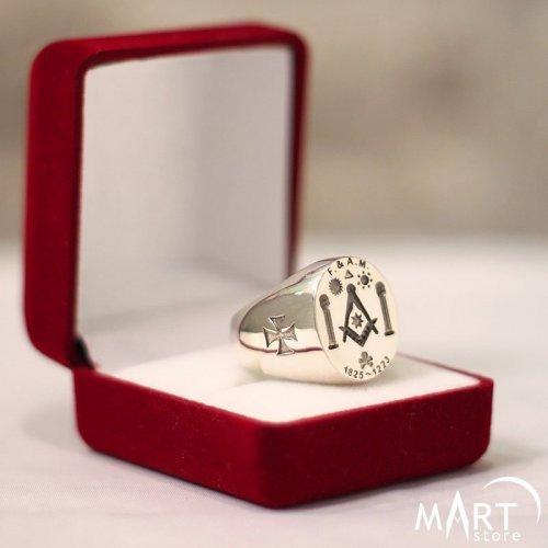 Custom Masonic Signet ring F.A.M. - Boaz and Jachin, Maltese cross, skull - Silver and Gold