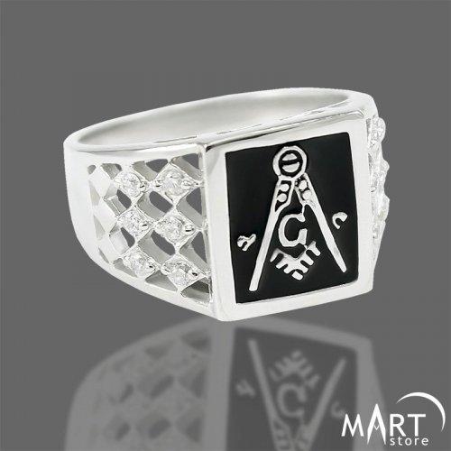 Freemason Ring - Blue Lodge Masonic Ring 12 Zirconia - Silver and Gold