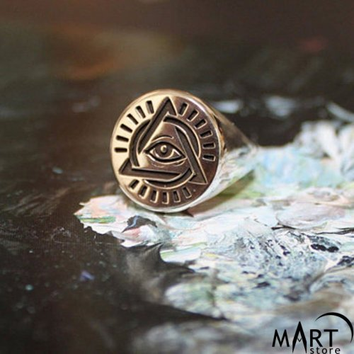 Illuminati Ring - All-Seeing Eye, Pyramid Ring - Silver and Gold
