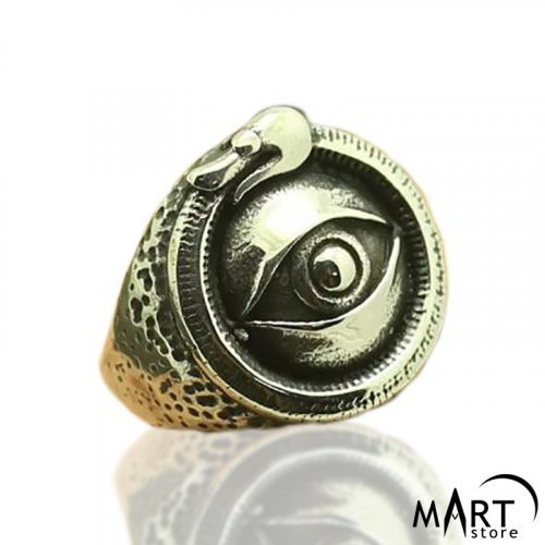 Illuminati ring - Eye of Providence Ouroboros Snake - Silver and Gold