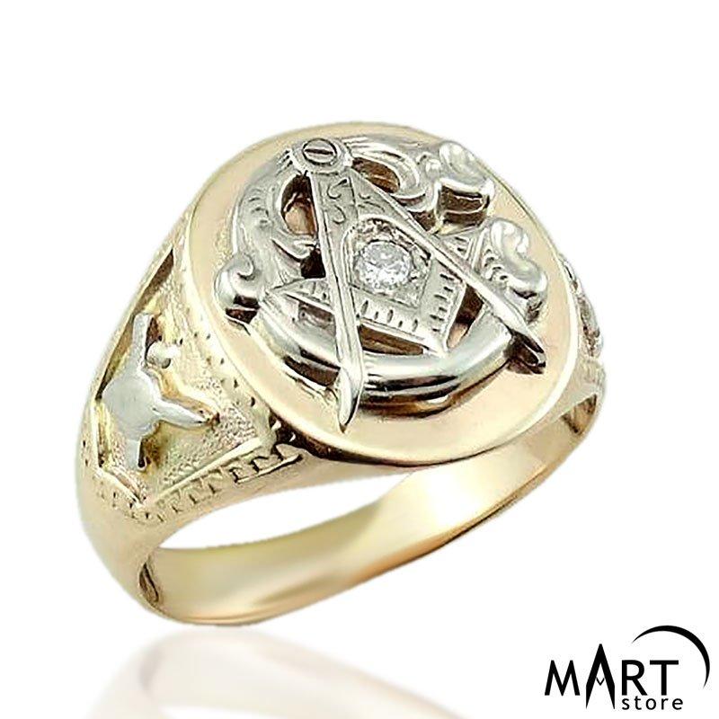 1a704d15b5d0c Masonic Diamond Ring - Blue Lodge Masonic Ring 3rd degree - Silver and Gold
