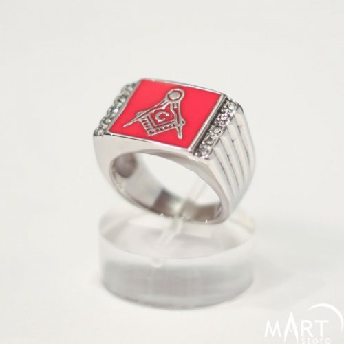 Masonic Ring 3rd Degree Masonic Ring - Custom Enamel Square Shape Gemstones