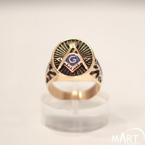 Masonic Ring Blue Lodge 3rd Degree, Plumb and Trowel - Blue Enamel