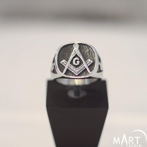 Fully Customizable Masonic Ring, Square Shape - Masonic Fraternity Ring