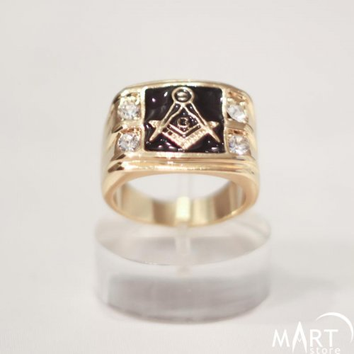 Masonic Ring Blue Lodge Square Shape, 4 Gemstones, Black Enamel