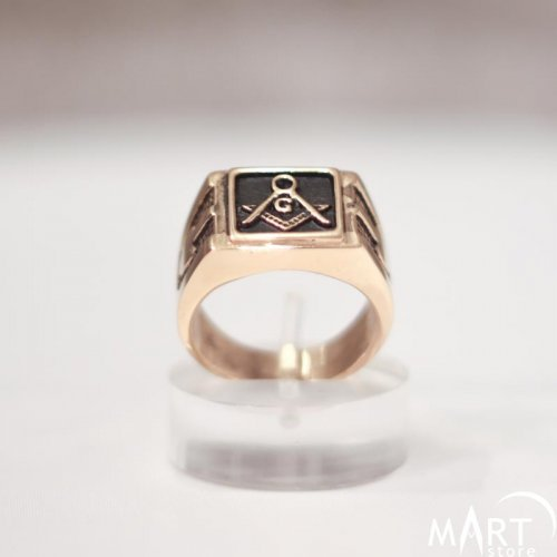 Custom Made Masonic Ring, Enamel Square Shape