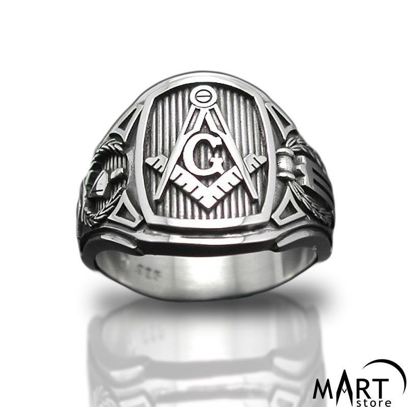 Masonic ring, Master Mason - Blue Lodge of Freemasonry - Silver and Gold
