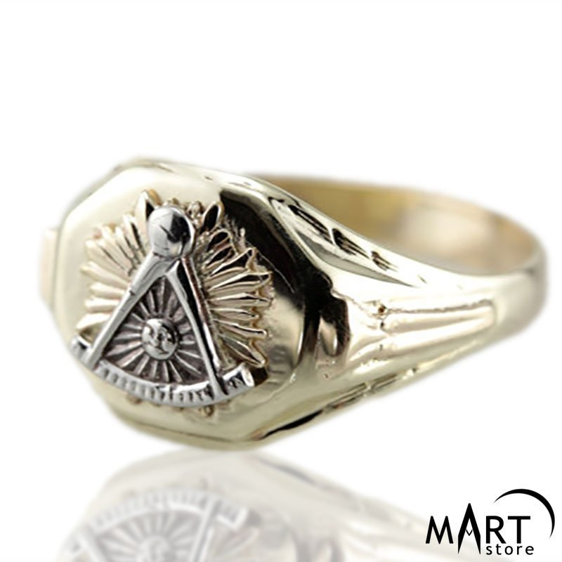 Masonic Ring - Past Master Masonic Lodge Ring - Silver and Gold