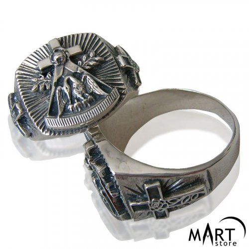 Masonic Ring - Rosenkreuz ring Rose and Cross - Silver and Gold