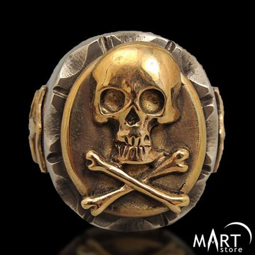 Masonic Skull ring - Skull and Crossbones ring Fleur de Lis - Silver and Gold