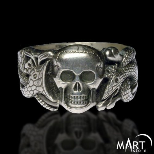 Masonic Skull Ring - Snakes Ouroboros Band Ring - Silver and Gold