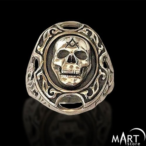 Masonic Skull ring - Square and Compass Cigar Band Ring - Silver and Gold